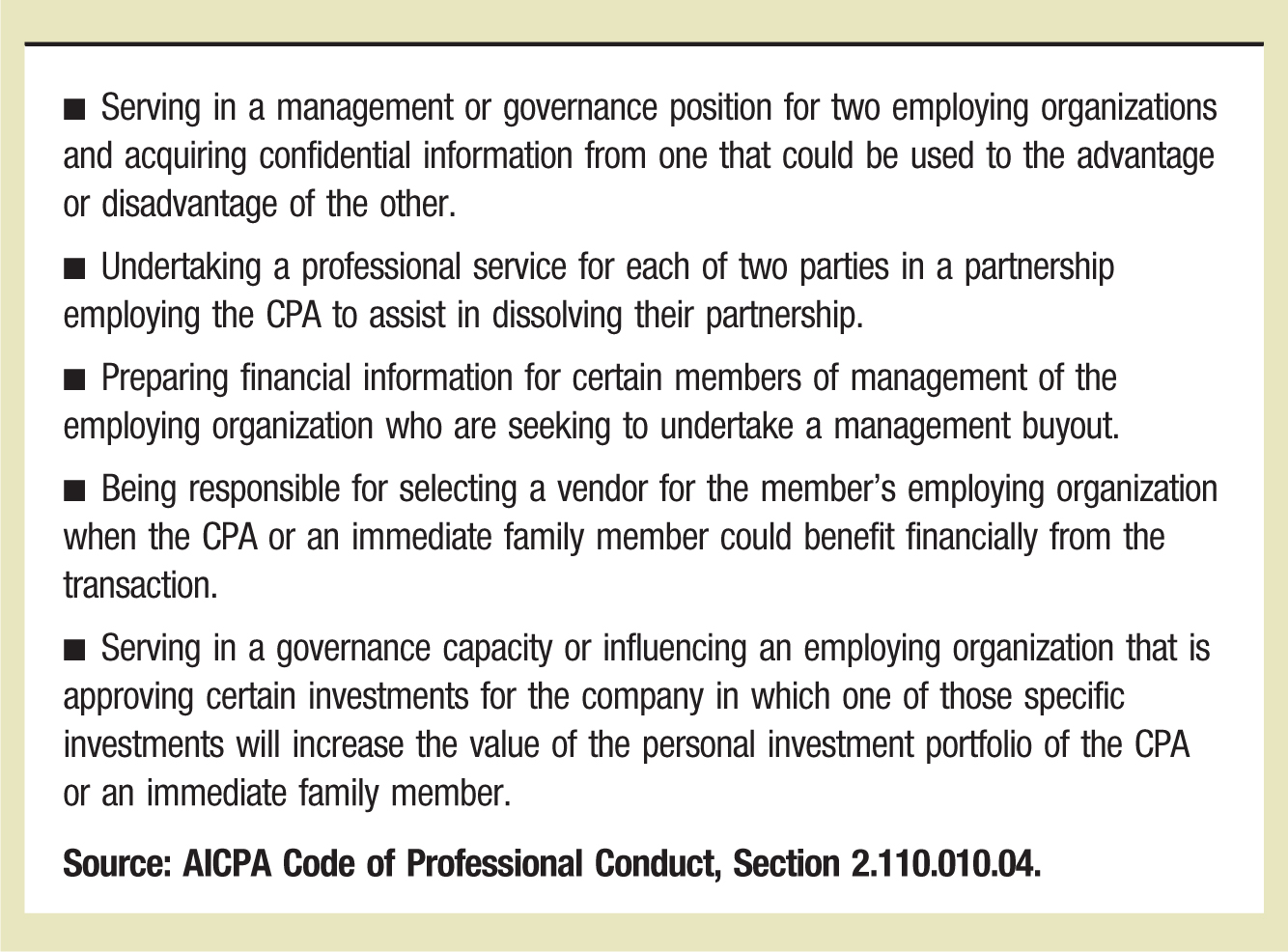 ▪ Serving in a management or governance position for two employing organizations and acquiring confidential information from one that could be used to the advantage or disadvantage of the other. ▪ Undertaking a professional service for each of two parties in a partnership employing the CPA to assist in dissolving their partnership. ▪ Preparing financial information for certain members of management of the employing organization who are seeking to undertake a management buyout. ▪ Being responsible for selecting a vendor for the member